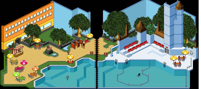 哈宝游泳池的两个区域